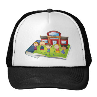 Books and children at the school trucker hat