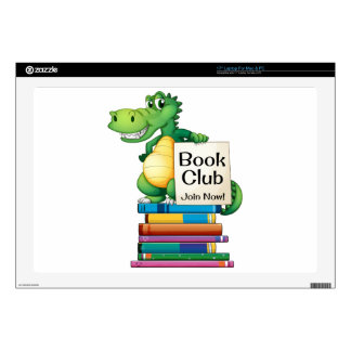 """Books and crocodile decal for 17"""" laptop"""