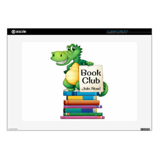 """Books and crocodile decals for 15"""" laptops"""