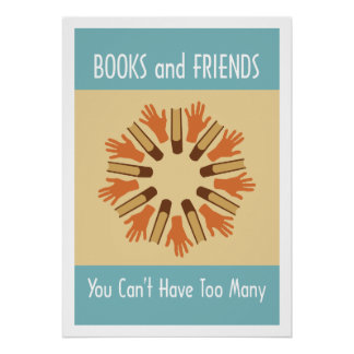 Books and Friends Reading Poster