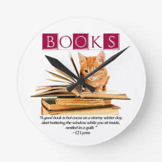 Books and Kitten Wall Clock