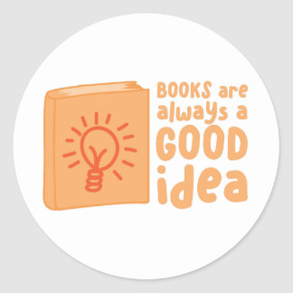 books are always a good idea classic round sticker