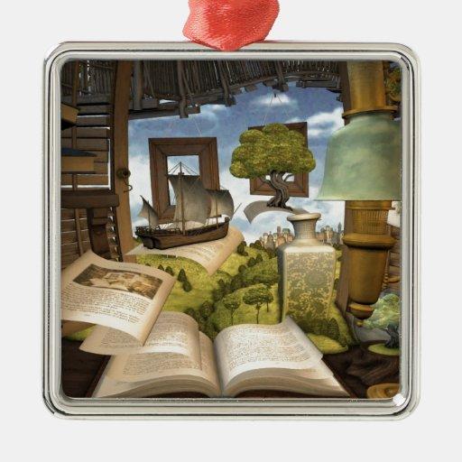 Books are knowledge! metal ornament