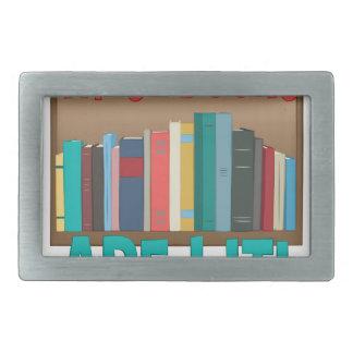 Books Are Lit Rectangular Belt Buckle