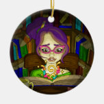 Books are magic Double-Sided ceramic round christmas ornament