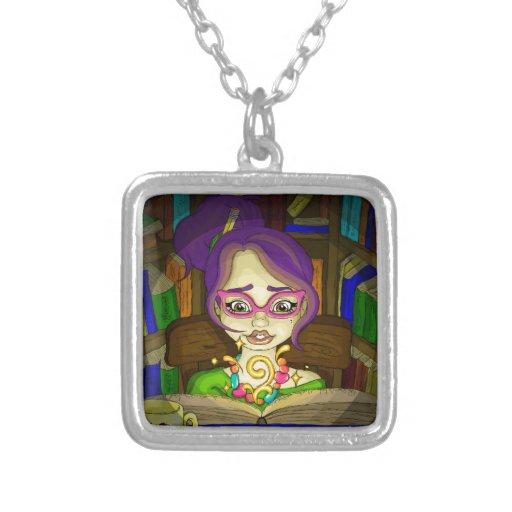 Books are magic square pendant necklace