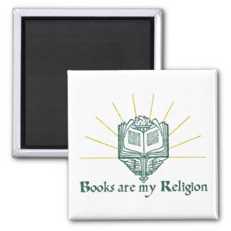 Books are My Religion 2 Inch Square Magnet