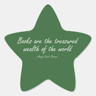 Books Are The Treasured Wealth of The World Star Sticker