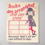 Books arranged poster