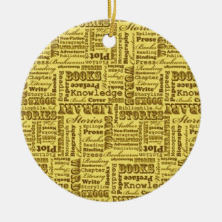 Books Books Books! Double-Sided Ceramic Round Christmas Ornament