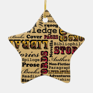 Books Books Books! Double-Sided Star Ceramic Christmas Ornament