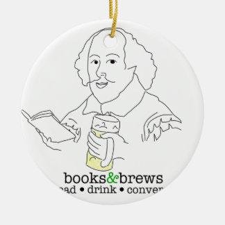 Books & Brews Logo Double-Sided Ceramic Round Christmas Ornament