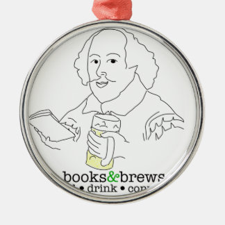 Books & Brews Logo Round Metal Christmas Ornament