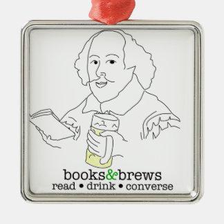 Books & Brews Logo Square Metal Christmas Ornament