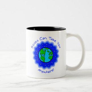 Books Can Take You Two-tone Mug, 6 colors, 2 sizes Two-Tone Coffee Mug