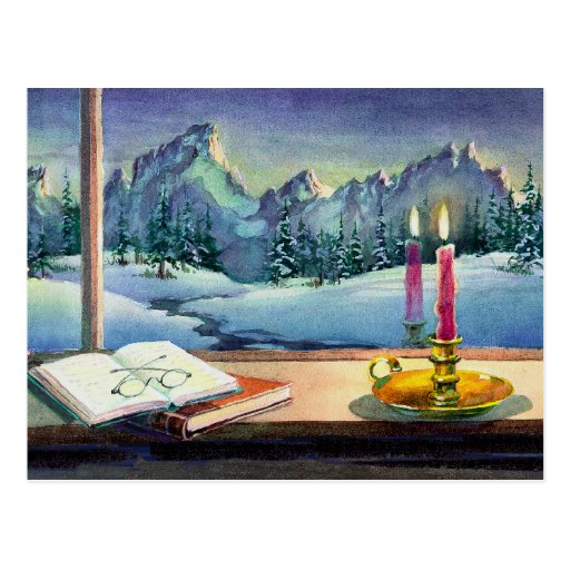 BOOKS & CANDLE by SHARON SHARPE Postcards