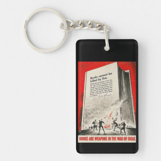 Books Can't Be Killed By Fire Double-Sided Rectangular Acrylic Keychain