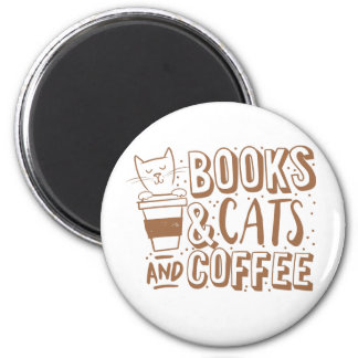 books cats and coffee 2 inch round magnet
