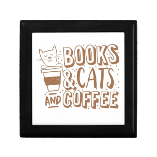books cats and coffee jewelry box
