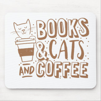 books cats and coffee mouse pad