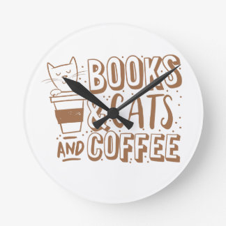books cats and coffee round clock