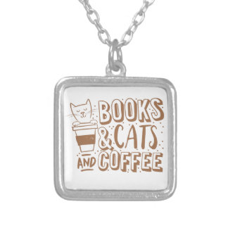 books cats and coffee silver plated necklace