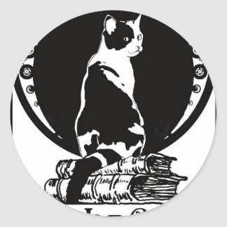 Books, cats, life is sweet Kopie_vectorized Classic Round Sticker