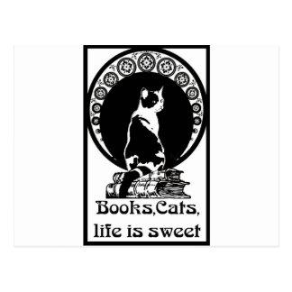 Books, cats, life is sweet Kopie_vectorized Postcard