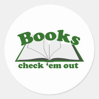 Books Check em Out Classic Round Sticker