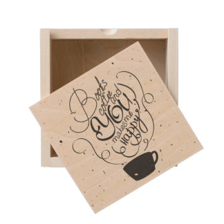 Books Coffee And You Makes Me Happy Wooden Keepsake Box