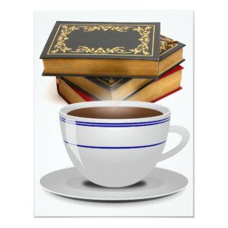 Books & Coffee: Need I Say More? 4.25x5.5 Paper Invitation Card