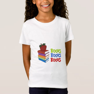 BOOKS!-Colorful stack of books and apple T-Shirt
