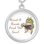 Books Feed The Soul Wise Owl Silver Plated Necklace