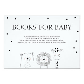 Books for baby Bring a book Black white Animals Card