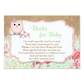 Books for baby, bring a book insert, owl card