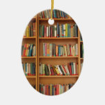 Books in the bookshelf Double-Sided oval ceramic christmas ornament