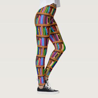 Books Library Bookshelf   Colorful Reading Pattern Leggings