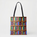 """Books Library Bookshelf Pattern for Readers Tote Bag<br><div class=""""desc"""">This original all-over-print tote bag design for bibliophiles / proud bookworms has a colorful bookshelf pattern made up of 25 repeating books that lean or stand straight, all on a shelf with a wooden look. This bag is perfect for a librarian, book collector, English teacher or any avid reader. The...</div>"""