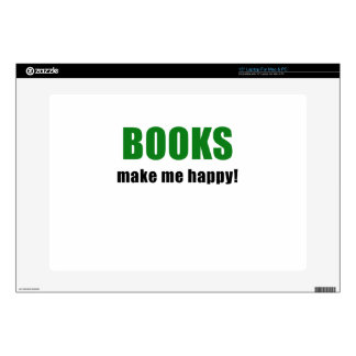 "Books Make me Happy 15"" Laptop Skin"