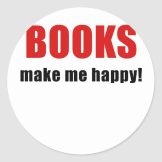 Books Make Me Happy Classic Round Sticker