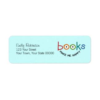 Books Make Me Happy Custom Return Address Labels