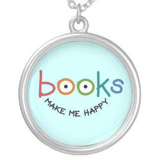 Books Make Me Happy Silver Plated Necklace
