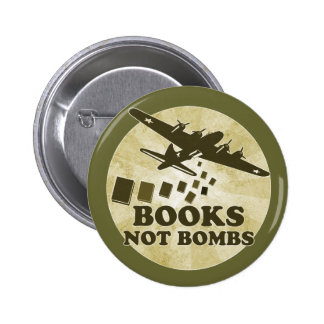 Books not bombs 2 inch round button