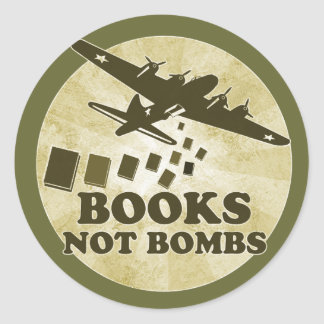 Books not Bombs Classic Round Sticker