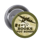 Books not bombs pinback button