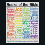 "Books of the Bible 16x20 Poster<br><div class=""desc"">A list of the Books of the Bible,  color coordinated to show the type of book.</div>"