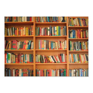 Books on Bookshelf Background Card