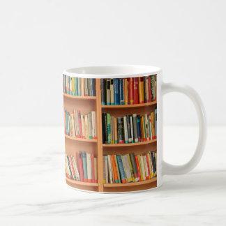 Books on Bookshelf Background Coffee Mug
