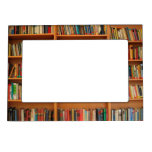 Books on Bookshelf Background Frame Magnets