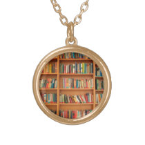 Books on Bookshelf Background Gold Plated Necklace